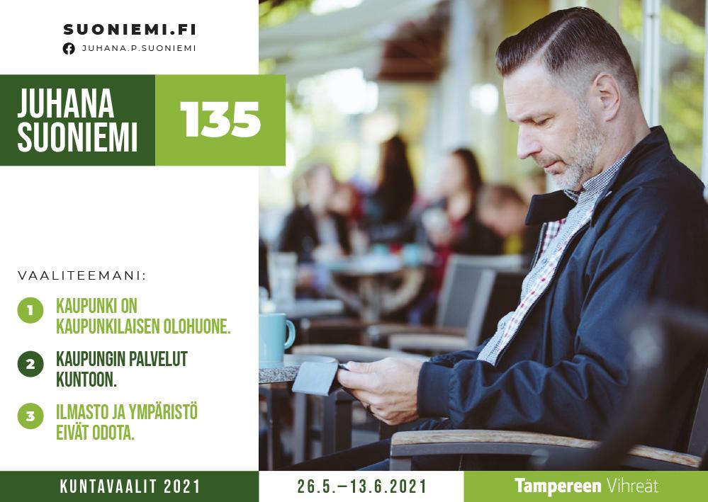 Tampereen Vihreiden kunnalisvaaliehdokas Juhana Suoniemi, 135